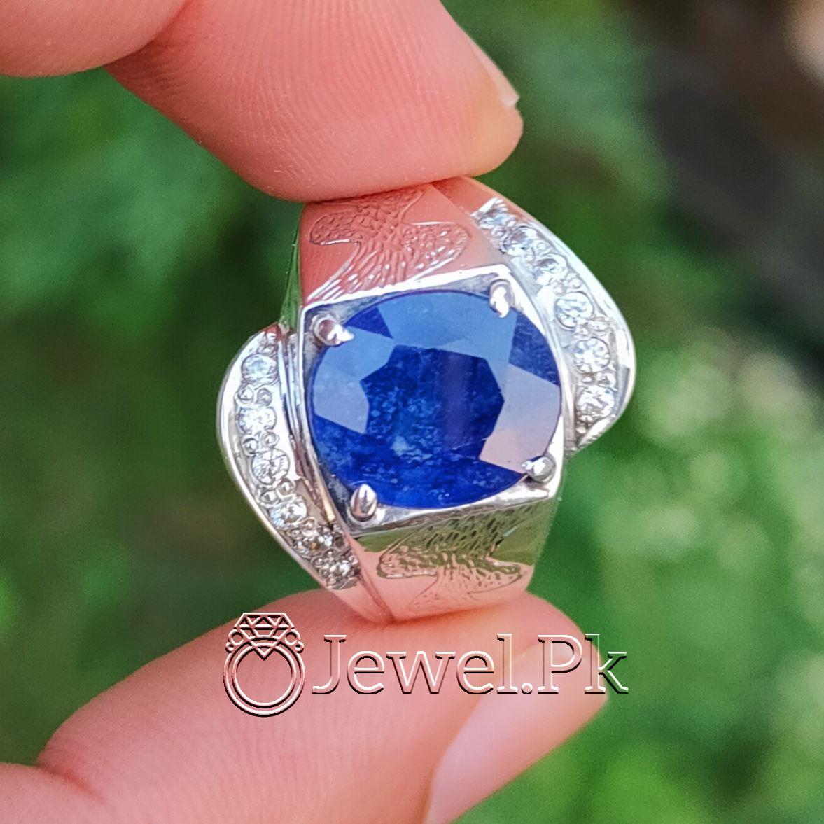 Natural Blue Sapphire Ring 925 Silver Chandi Handmade 1 natural gemstones pakistan + 925 silver jewelry online