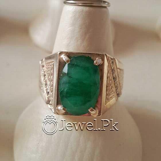Natural Emerald Zamurd Stone with Pure Silver 925 Chandi 1 natural gemstones pakistan + 925 silver jewelry online