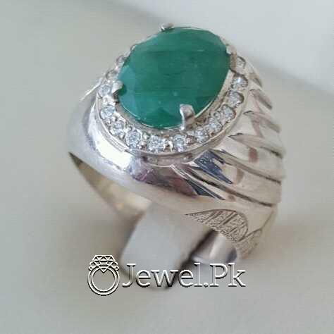 Natural Emerald Zamurd Stone with Pure Silver 925 Chandi 11 natural gemstones pakistan + 925 silver jewelry online