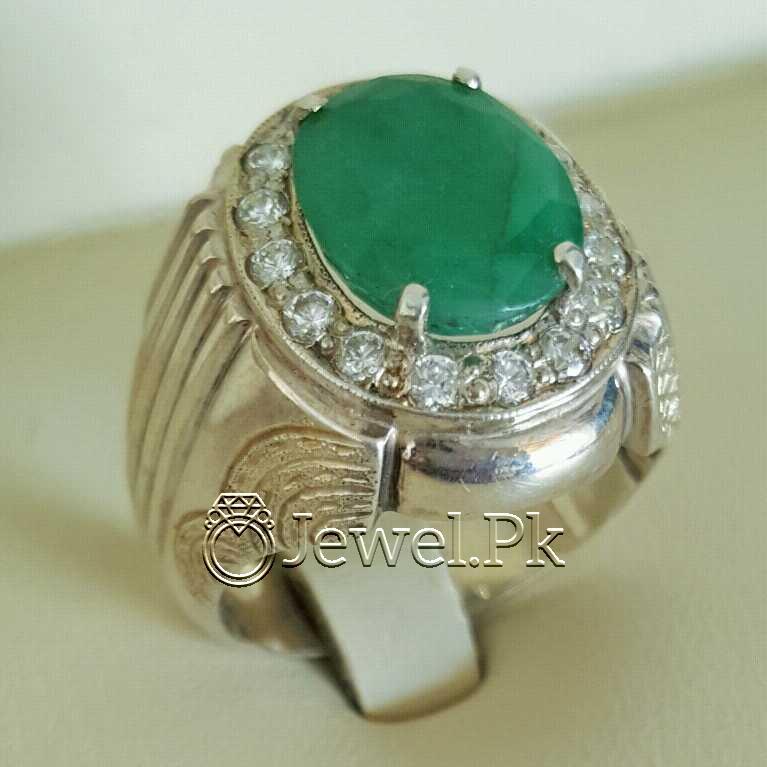 Natural Emerald Zamurd Stone with Pure Silver 925 Chandi 13 natural gemstones pakistan + 925 silver jewelry online
