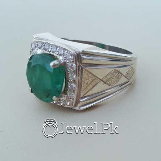 Natural Emerald Zamurd Stone with Pure Silver 925 Chandi 24 natural gemstones pakistan + 925 silver jewelry online
