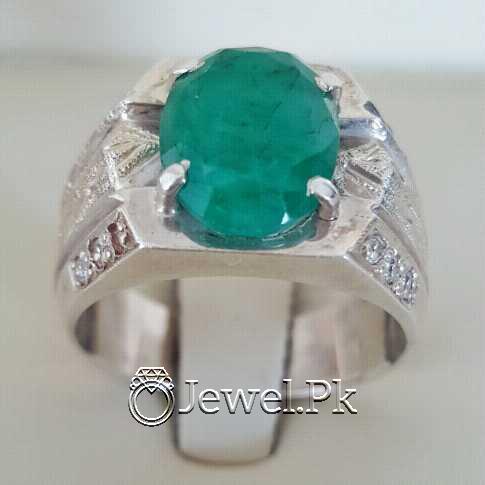 Natural Emerald Zamurd Stone with Pure Silver 925 Chandi 28 natural gemstones pakistan + 925 silver jewelry online