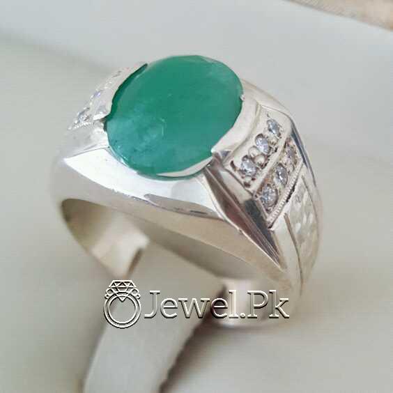 Natural Emerald Zamurd Stone with Pure Silver 925 Chandi 30 natural gemstones pakistan + 925 silver jewelry online