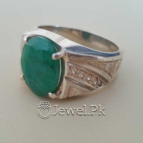 Natural Emerald Zamurd Stone with Pure Silver 925 Chandi 4 natural gemstones pakistan + 925 silver jewelry online