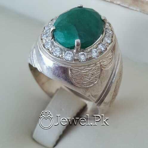 Natural Emerald Zamurd Stone with Pure Silver 925 Chandi 9 natural gemstones pakistan + 925 silver jewelry online