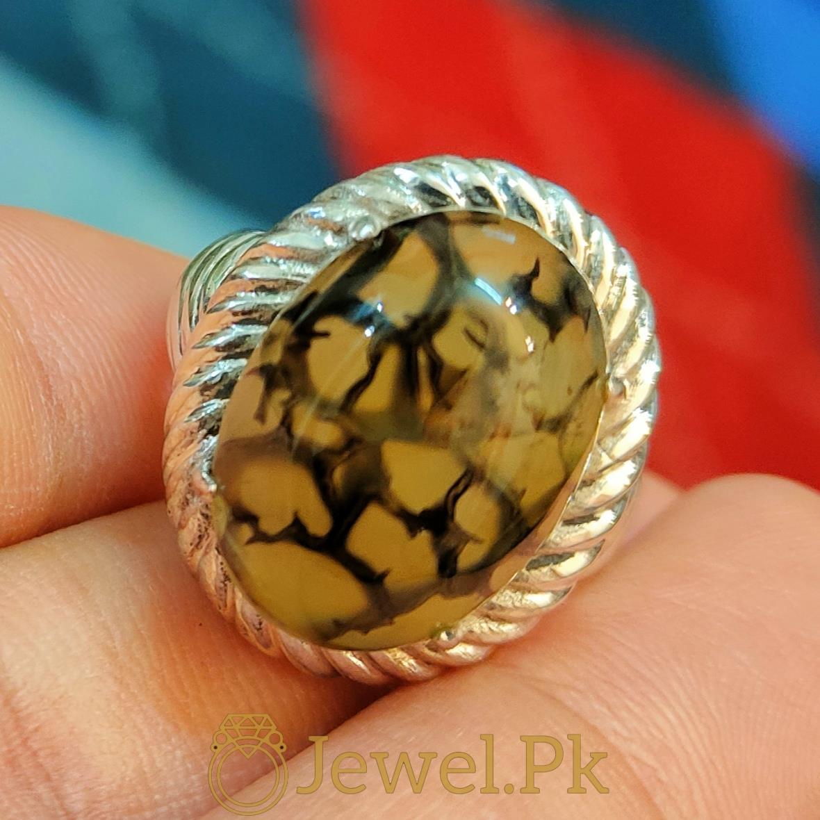 Natural Shajiri Aqeeq Ring Beautiful Aqeeq 1 natural gemstones pakistan + 925 silver jewelry online