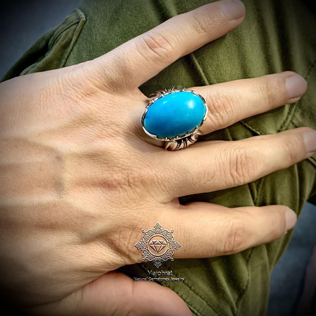 Natural Turquoise Ring Handmade Nishapuri Feroza Ring Original Nishaburi 5 natural gemstones pakistan + 925 silver jewelry online