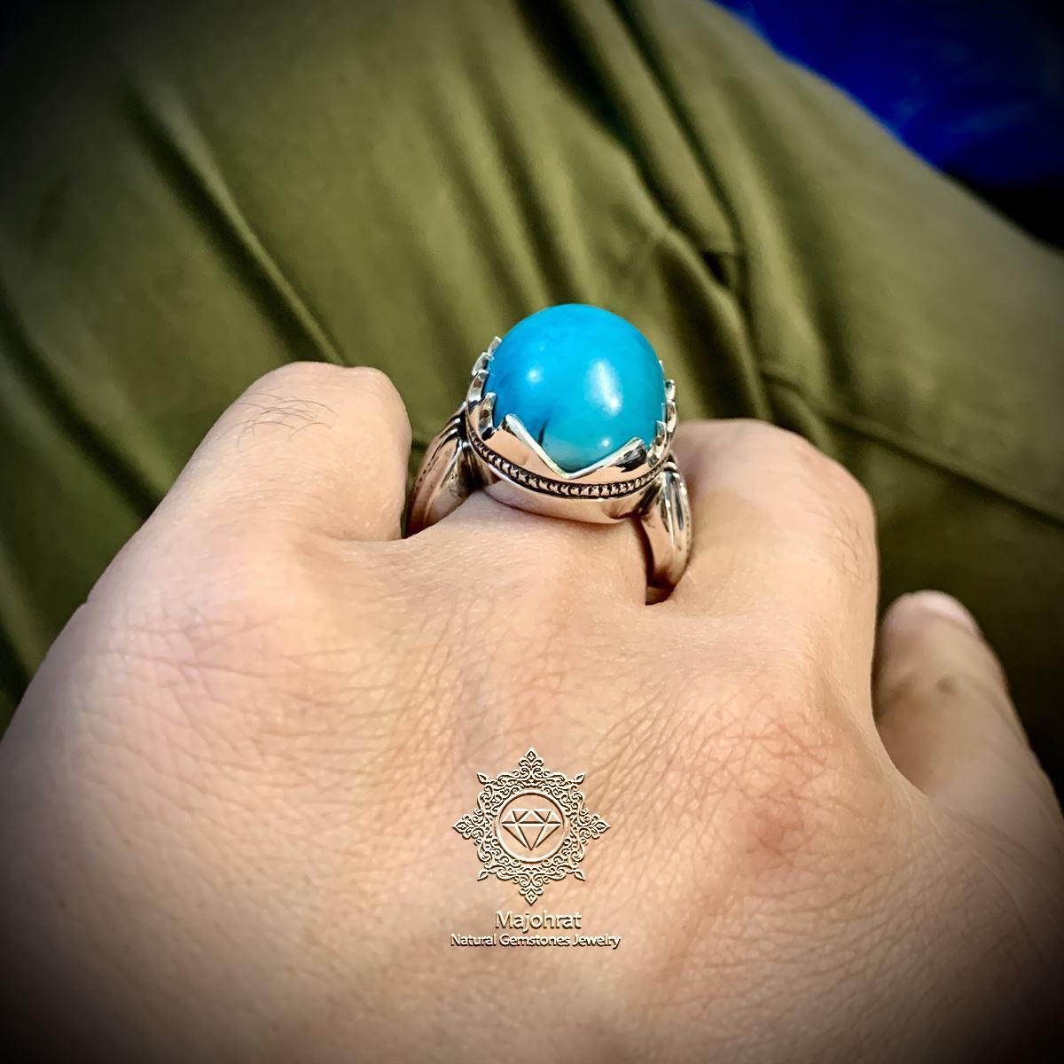 Natural Turquoise Ring Handmade Nishapuri Feroza Ring Original Nishaburi 7 natural gemstones pakistan + 925 silver jewelry online