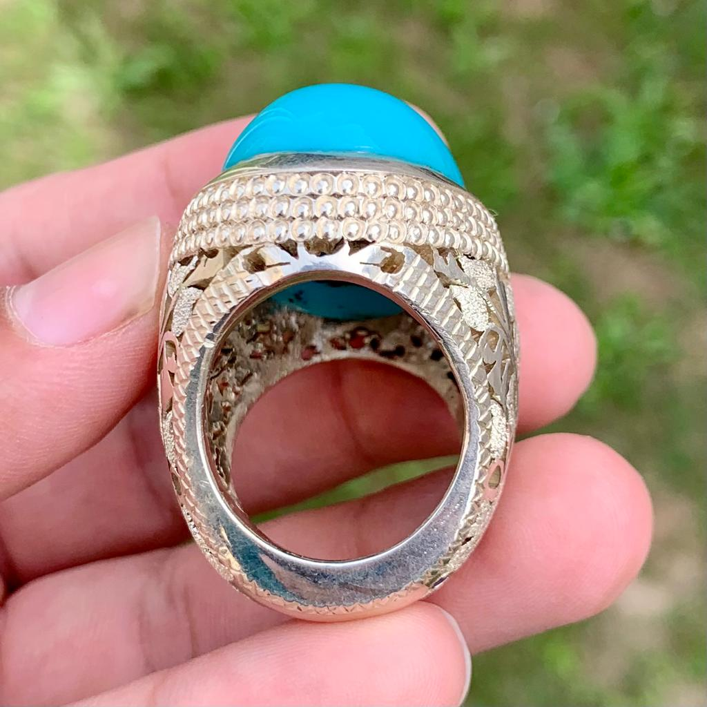 Natural Turquoise Ring Master Piece Ring 2 natural gemstones pakistan + 925 silver jewelry online