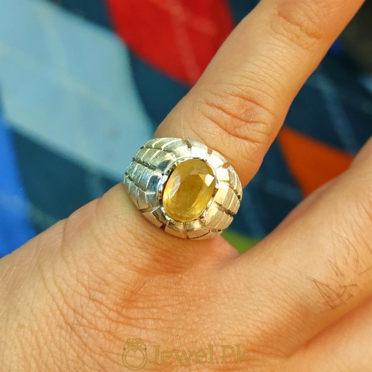 Natural Yellow Sapphire Ring Pukhraj Ring 1 natural gemstones pakistan + 925 silver jewelry online