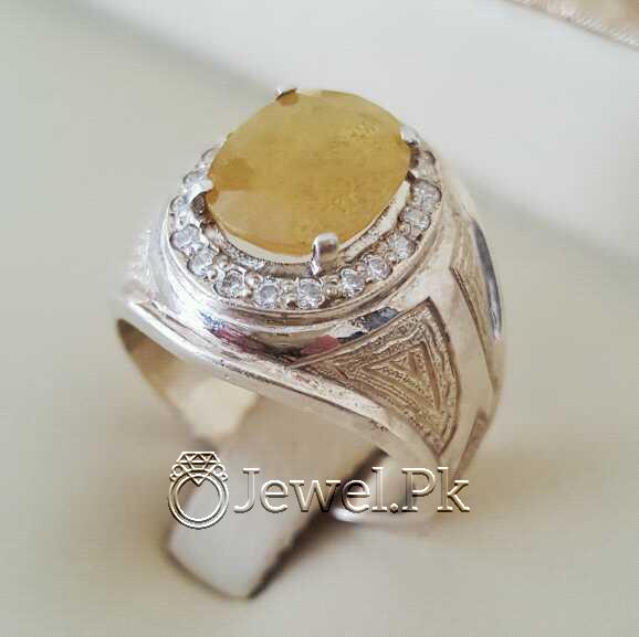 Real Silver 925 Chandi with Natural Yellow Sapphire Pukhraj Stone 22 natural gemstones pakistan + 925 silver jewelry online