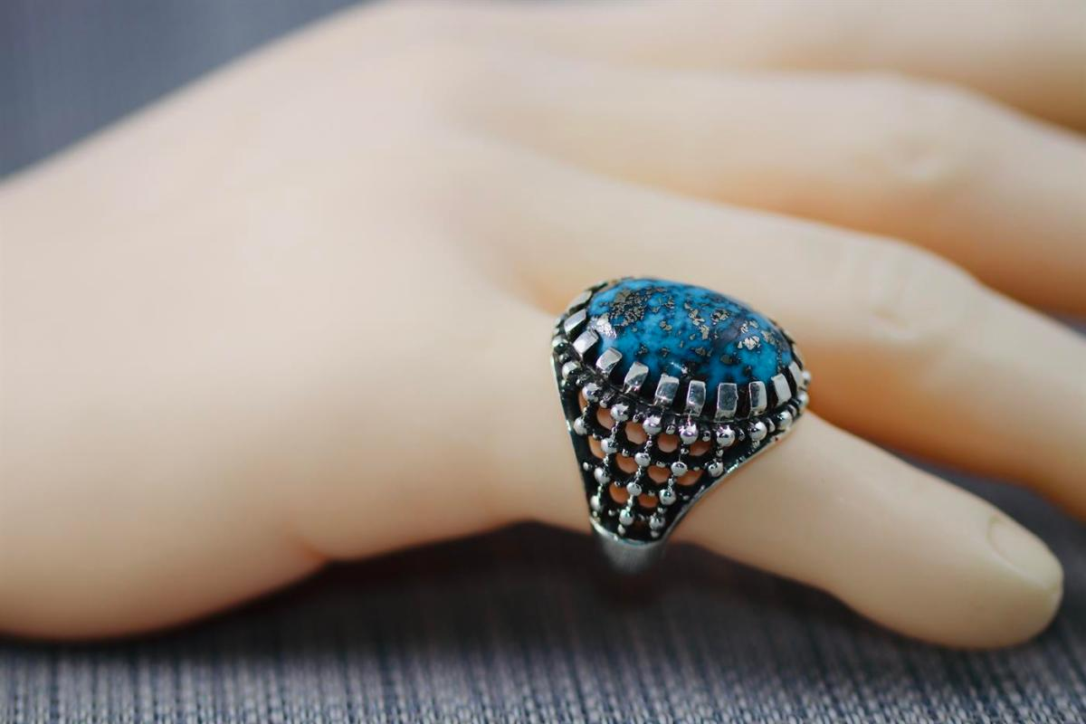 Shajri Feroza Ring 2 natural gemstones pakistan + 925 silver jewelry online