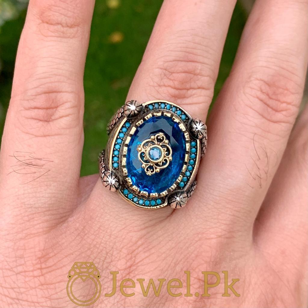 Turkish Rings Ottoman Ring Buy online Silver 925 Turkish Ring 24 natural gemstones pakistan + 925 silver jewelry online