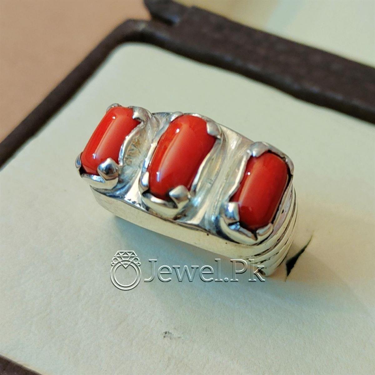 Natural Coral Marjan Ring Handmade 925 Silver Marjan stone 8 natural gemstones pakistan + 925 silver jewelry online