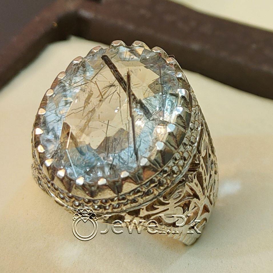 Natural Moh e Najaf Gemstone Ring 925 Silver Handmade Chandi ring mohe najaf Rutile Quartz Stone 1 1 natural gemstones pakistan + 925 silver jewelry online