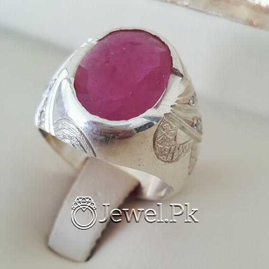 Real Silver 925 Chandi with Natural Ruby Yaqoot Stone 24 natural gemstones pakistan + 925 silver jewelry online