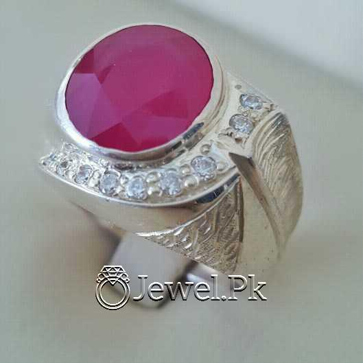 Real Silver 925 Chandi with Natural Ruby Yaqoot Stone 52 natural gemstones pakistan + 925 silver jewelry online