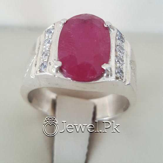 Real Silver 925 Chandi with Natural Ruby Yaqoot Stone 55 natural gemstones pakistan + 925 silver jewelry online