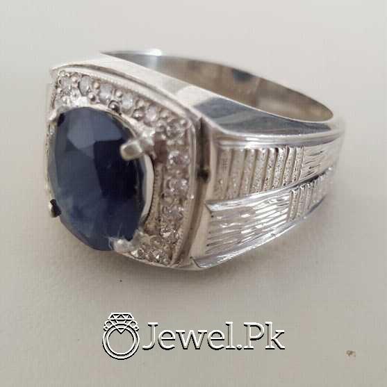 Real Silver 925 Chandi with Original Blue Sapphire Gemstone 4 natural gemstones pakistan + 925 silver jewelry online