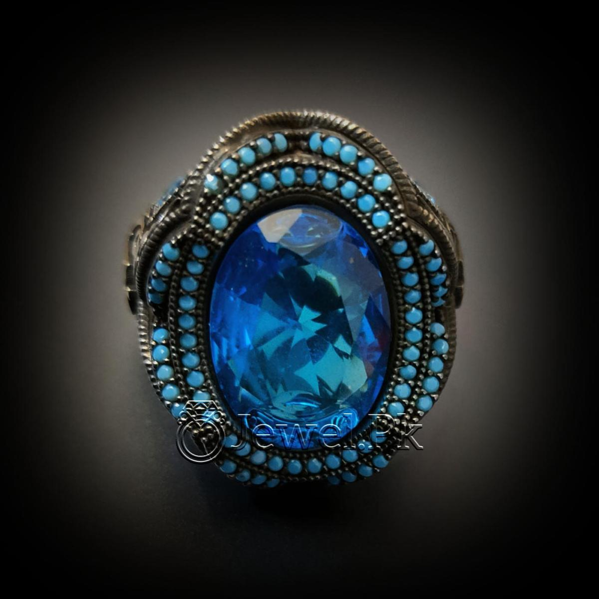 Turkish Ring 925 Silver Chandi Turkey Rings 3 natural gemstones pakistan + 925 silver jewelry online