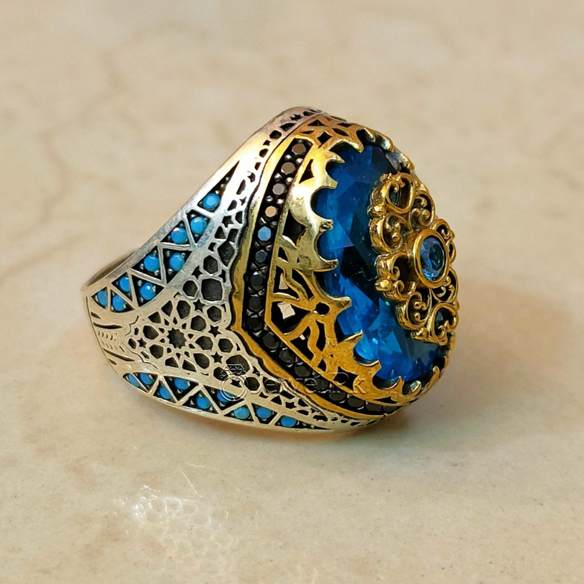 Turkish Rings 925 Silver Handmade Imported Ottoman Rings Pakistan 4 natural gemstones pakistan + 925 silver jewelry online