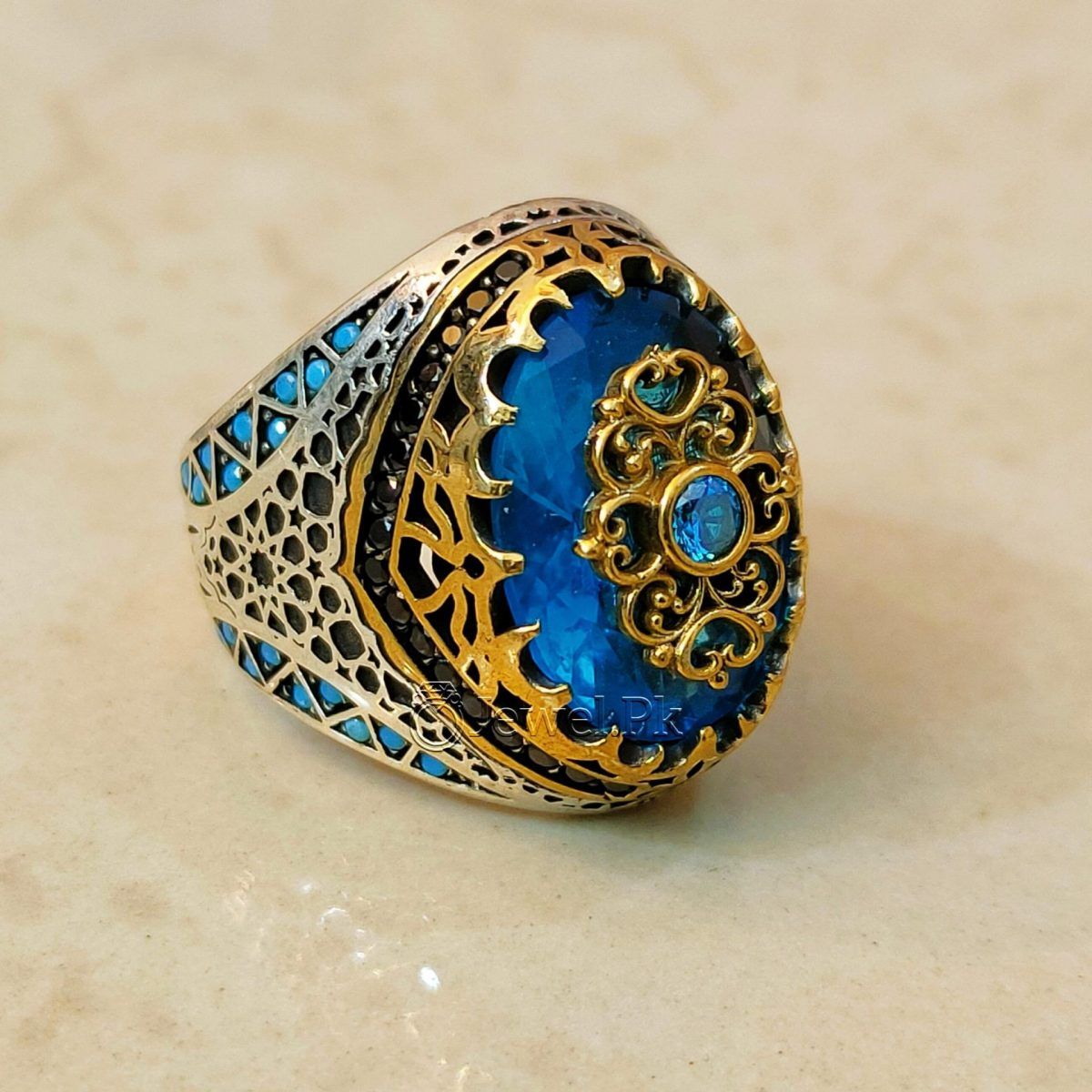 Turkish Rings 925 Silver Handmade Imported Ottoman Rings Pakistan 5 natural gemstones pakistan + 925 silver jewelry online