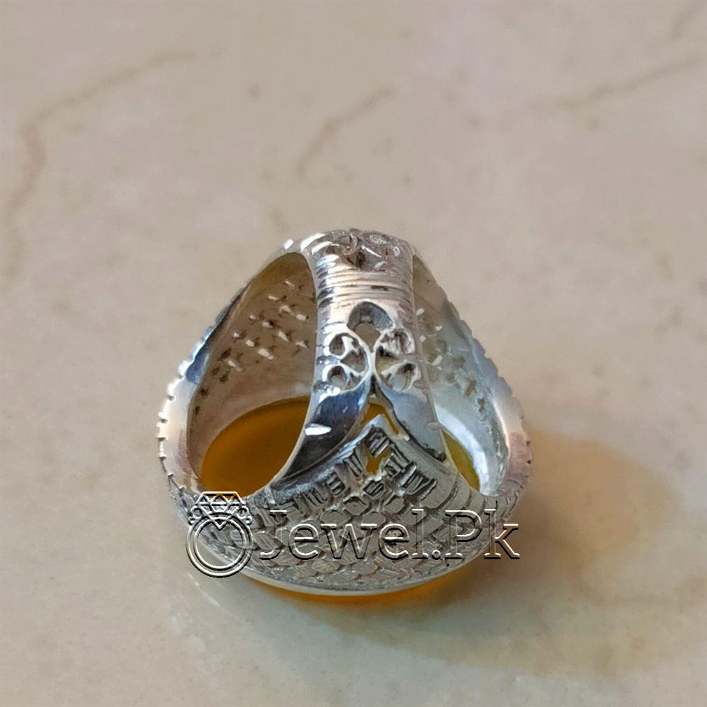 Yellow Agate Heavy Handmade Ring Silver 925 4 natural gemstones pakistan + 925 silver jewelry online