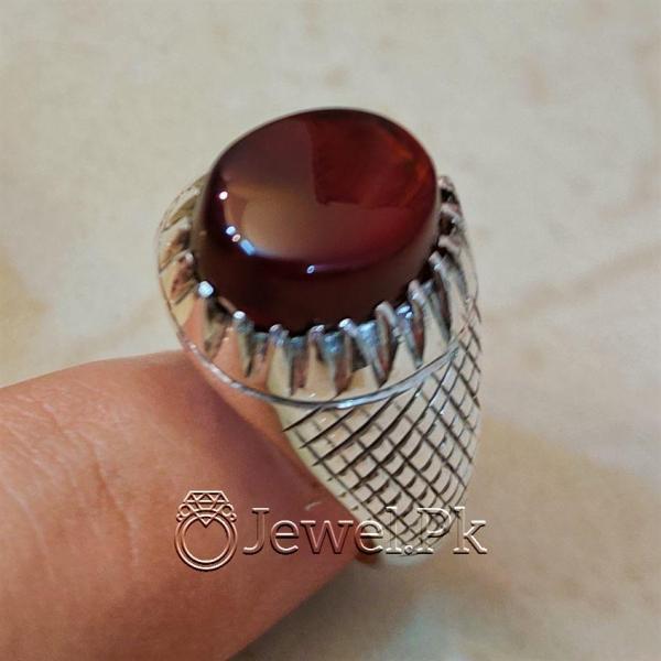 Yemeni Aqeeq Ring 925 Silver Handmade