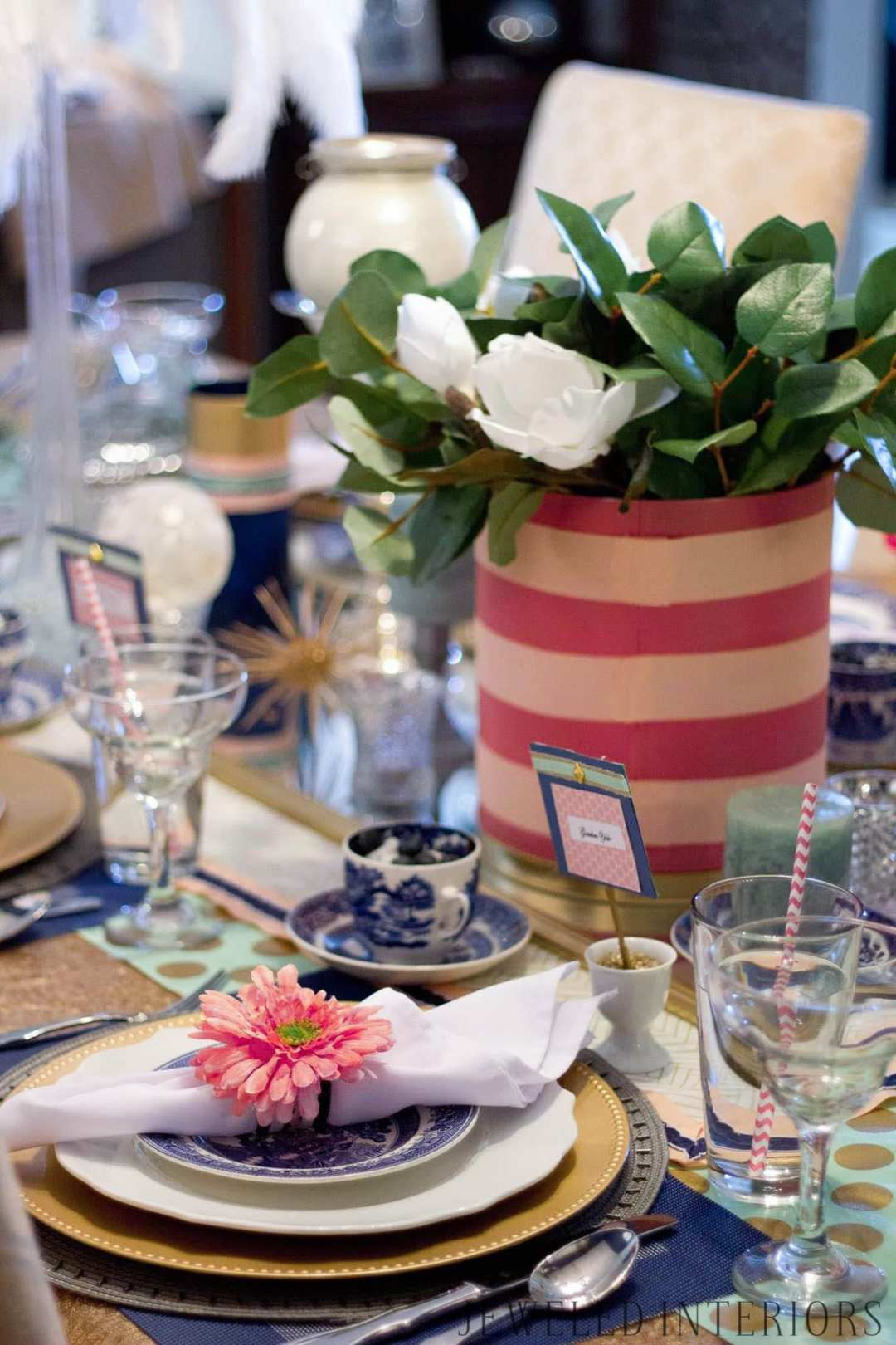 Blue willow patterned China, tea party, Jeweled Interiors, polka dots, flower, napkin, paper straw, gold, charger, sequin, table cloth,