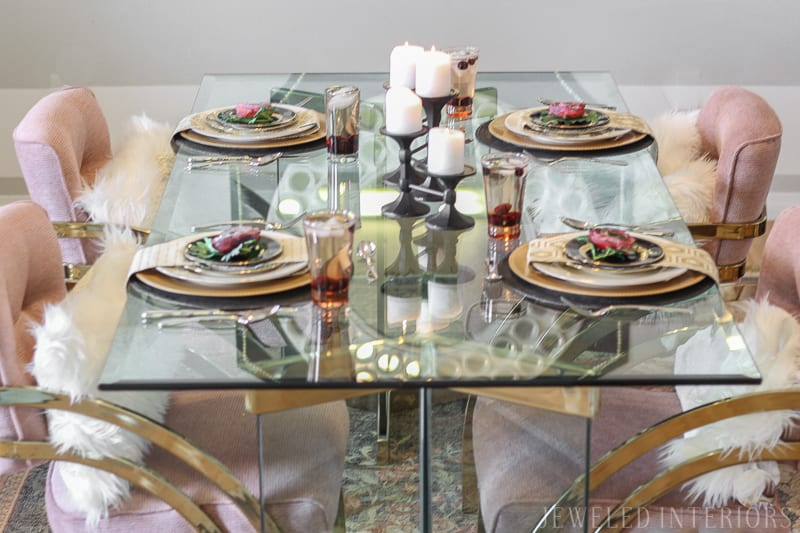 Check out this dining room make over!  Craigslist to the rescue! Milo, Baughman, chairs, thrifted, craigslist, glass, table, brass, millenial, pink, blush, formal, glam, chic, dining room, luncheon, dinner, party, moody, floral, rug, centerpiece, floral, stripes, DIY,  before, after, make-over, reveal, redecorate, 80's table, chairs, vintage rug, wool