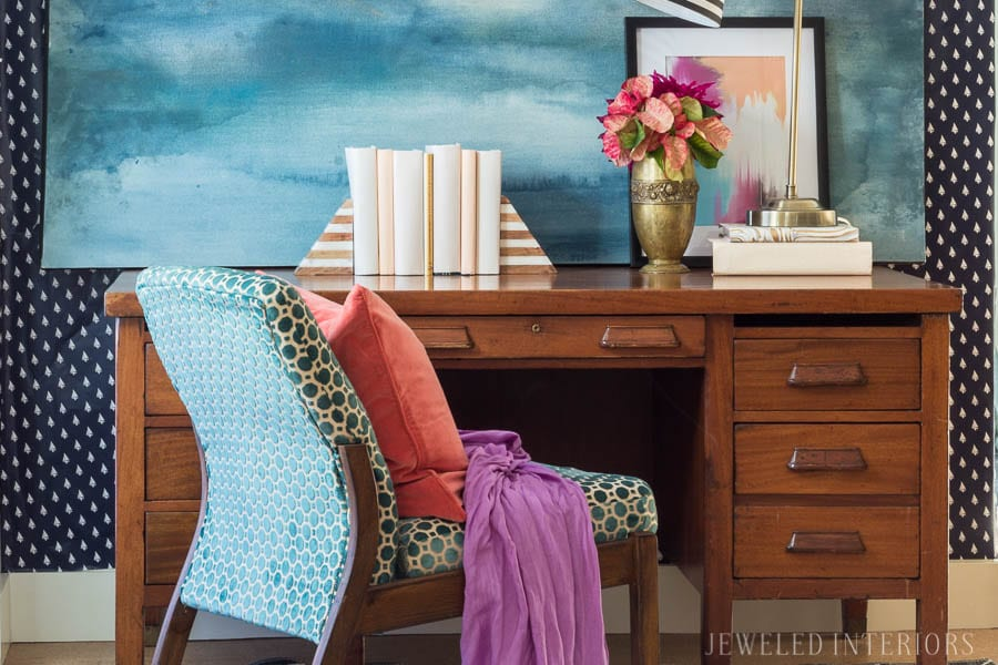 One Mid Century Modern Desk Styled Two Ways: Part 1 || Feminine and Preppy