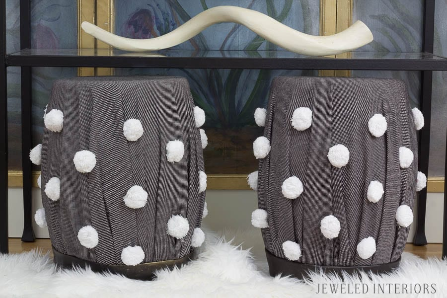 From Garden Stool to Boho Glam Stool|| STEP BY STEP DIY TUTORIAL|| jeweled interiors.com, boho, glam, bohemian, chic, garden stool, ottoman, bench, seat, DIY, tutorial, pom pom, vanity, stool, desk, chair, upholster, hot glue, Chinese screen, faux sheep skin, step by step, how to, tween, teen, girl, make over