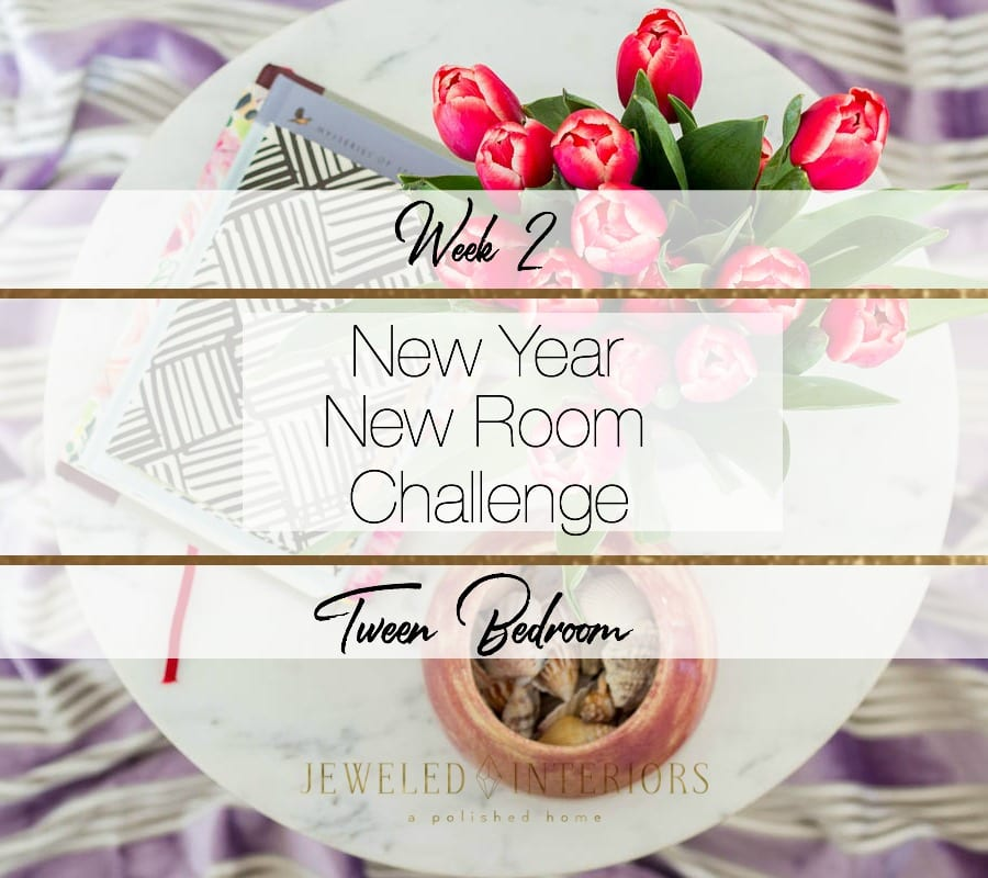 New Year NEW ROOM, NYNR, challenge, jeweled interiors, tween bedroom, pom pom, wallpaper, temper, Tokyo, glam, eclectic, velvet, rug, art, night stand, strip, dresser, marble, Pantone, purple, ultra violet, 1980's