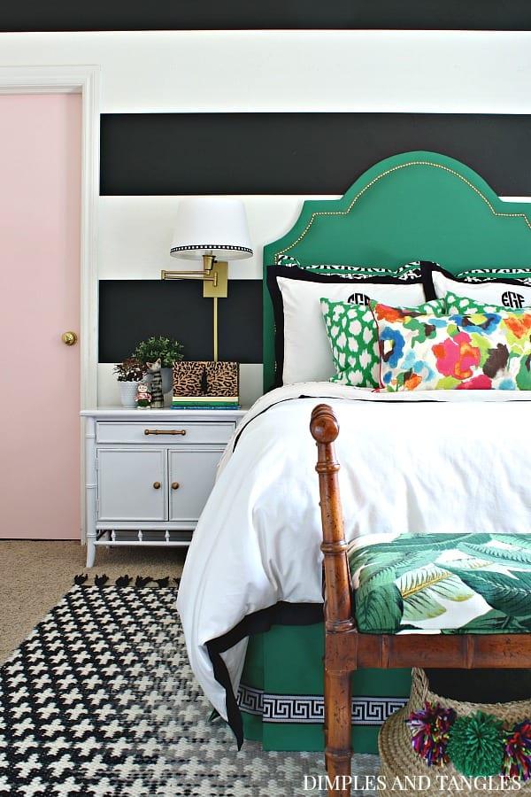 Green, Emerald Headboard, Headboard Ideas, Custom headboard, upholstered headboard, color splash blog hop, Spoonflower fabric, striped walls, Roostery Sheets, Tempaper Mini stripes, Silk Curtains, Parisians bedroom, girl's bedroom, Teenager bedroom, tween bedroom, girl's room, palm leaf sheets, WYANDOTTE DUVET COVER, inky bits, Luxe Palm Leaf, Tropicana jaguar