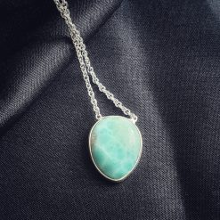 Sterling Silver Blue Quartz Blue Larimaar Bezel Necklace Everyday Blue Necklace Necklace Larimar Blue Jewellery Pack Of 1 Necklace Ideal for Women