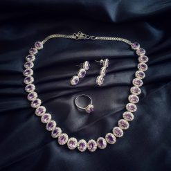 Sterling Silver Purple Amethyst Classic Queen Necklace Everyday Women Necklace Necklace Necklace Earring Ring Set Jewellery Set Pack Of 1 Necklace