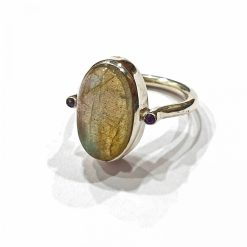 Sterling Silver Grey Labradorite Anatomy Ring Everyday Rings jewellery rings for girls jewellery for women Pack Of 1 Ring Ideal for Women