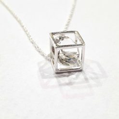 Sterling Silver White Cubic Zirconia 18 Inch Necklace with Diamond in a Box Pendant with Cubic Zirconia Necklace Everyday Solitare Jewellery Stylish Necklace Necklace for Girls Jewellery for Girls Pack Of 1 Necklace Ideal for Women