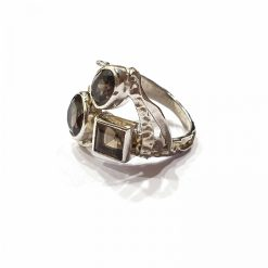 Sterling Silver Brown Smoky Russian Trinity Ring Everyday Silver Rings Rings Rings for Women jewellery for Men Pack Of 1 Ring Ideal for Men