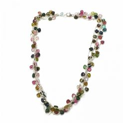 Sterling Silver Multi Tourmaline Layered Graduating Necklace Everyday Necklaces Silver Necklaces Necklace for Women Layered Necklaces Pack Of 1 Necklace Ideal for Women