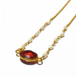 Sterling Silver Red Quartz Simplistic Single Stone Bezel Necklace Everyday Girls Necklace Necklace Silver Necklace Womens Jewellery Pack Of 1 Necklace Ideal for Women