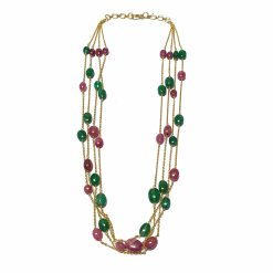 Sterling Silver Green Emerald Queen's Necklace Everyday Necklace for Women Silver Necklace Gold Necklace Light Weight Necklace Pack Of 1 Necklace Ideal for Women