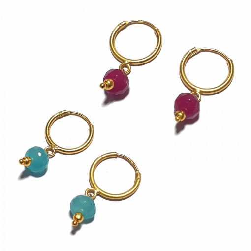 Silver Bali Set of 2 Combo with Blue Chalcedony and Pink Chalcedony Gold Polished Bali in Pure Silver 925   Earrings for Women