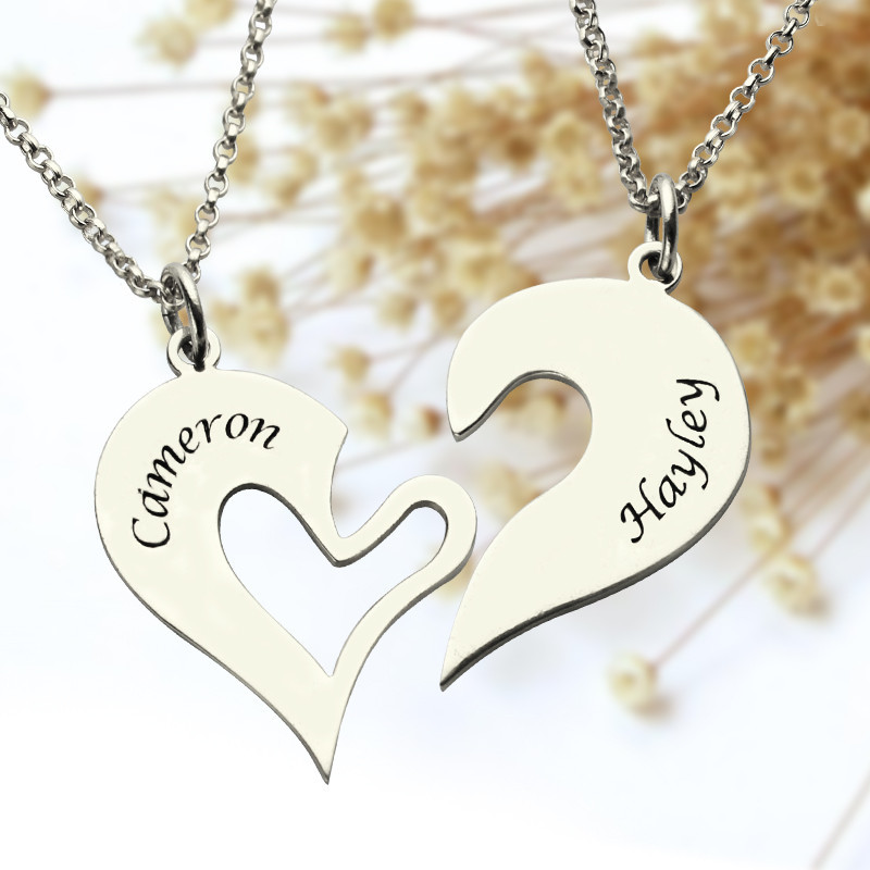 Broken Heart Necklace 2 Pce Set Silver Gold Jewellery Creations