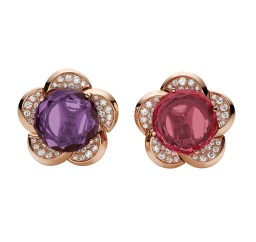 High Jewellery earrings in pink gold with 1 round rose cut rubellite (6.35 ct), 1 round rose cut amethyst (5.66 ct) and pavé diamonds (0.84 ct).