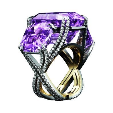 A three-stone ring, comprising of a 26.25 carat center Asscher-Cut Kunzite stone, with two side Asscher-Cut Kunzites at 15.96 carats. The three Kunzite stones are set with intricate, intertwined bands, adorned with Alexandra Mor's signature details of 298 'floating' Diamond melee and knife-edged double split prongs. Platinum on 1mm 18-karat yellow gold band with Alexandra Mor logo gallery. 42.21 carats Total Kunzite Weight. 1.46 carat Diamond Weight. Signed by artist. Crafted in the USA. One-of-A-Kind 1/1
