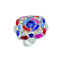 """Hypnotique"" ring in 18K white and yellow gold set with a 2.4-carat brilliantcut blue violet tanzanite, 102 brilliant-cut diamonds for a total weight of 1.7 carat and multicoloured lacquer. CHANEL Joaillerie"