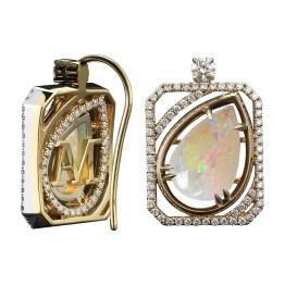 Vows by Alexandra Mor Pear-Shape Opal & Diamond Earrings