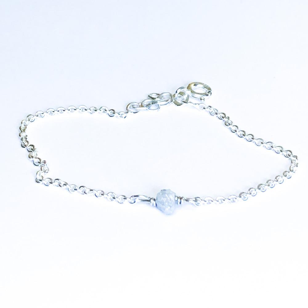 Rougth Diamond i sølv med hvid rå diamant