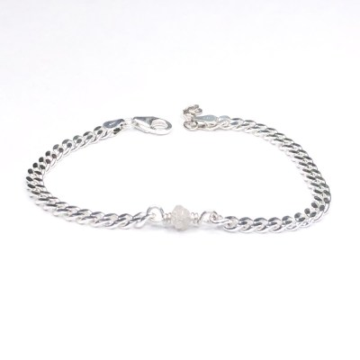 Rough diamond bracelet panser med hvid rådiamant